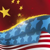 Clashing U.S.A and China Flags with Sparks due Trade War, Vector Illustration