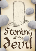 Sacred Pillar in Scroll for Stoning of the Devil Ritual, Vector Illustration