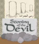 Slate Pebbles and Scroll Depicting the Stone of the Devil Ritual Vector Illustration
