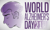 Man Fighting against Alzheimer's Disease during Its Commemorative Day, Vector Illustration