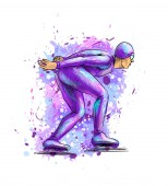 Abstract speed skaters from splash of watercolors Winter sport Short track Vector illustration of paints