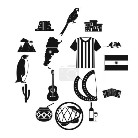 Illustration for Argentina set icons in simple style for any design - Royalty Free Image