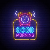 Good Morning neon sign bright signboard light banner Good Morning logo neon emblem Vector illustration