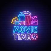 Cinema neon sign bright signboard light banner Movie Time logo neon emblem Vector illustration