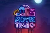 Night city Sign neon Cinema billboard Bright signboard light banner Cinema logo Vector illustration