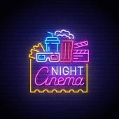 Cinema neon sign bright signboard light banner Night Cinema logo neon emblem Vector illustration