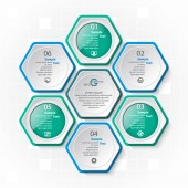vector abstract 3d paper infographic elementsHexagon infographicsBlue-greenHoneycomb design