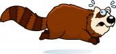 A cartoon illustration of a red panda running away