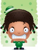 A cartoon illustration of a girl leprechaun looking angry