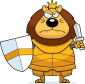 A cartoon illustration of a lion king in armor looking angry