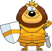 A cartoon illustration of a lion king in armor waving