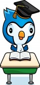 A cartoon illustration of a baby bluejay student sitting at a classroom desk