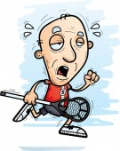 A cartoon illustration of a senior citizen man lacrosse player running and looking exhausted
