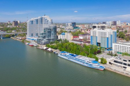 Aerial view of Rostov-on-Don and River Don. Russia...