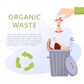 Organic waste vector illustration Food garbage - apple stump fish bones eggshell meat watermelon Recycling ecology problem isolate on white background objects collection