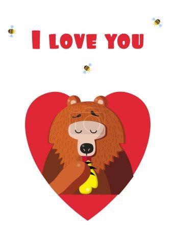 Photo pour Je vous aime carte de voeux de Saint-Valentin de personnage dessin animé mignon ours illustration manger du miel à l'intérieur du cœur rouge et les abeilles autour isolé sur fond blanc. Carte postale festive de la Saint Valentin - image libre de droit