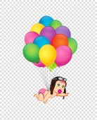 Its a girl cartoon vector illustration with cute baby girl in pilot hat flying on bunch of colorful helium balloons on transparent background Baby shower greeting card clipart Newborn baby arrival