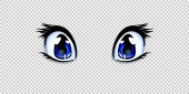 Realistic human manga anime style eyes in blue color for design or creation cartoon kawaii character isolated on transparent background Vector illustration clip art icon