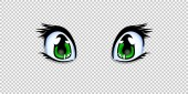 Realistic human manga anime style eyes in green color for design or creation cartoon kawaii character isolated on transparent background Vector illustration clip art icon
