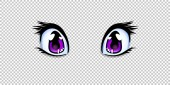 Realistic human manga anime style eyes in lilac or pink color for design or creation cartoon kawaii character isolated on transparent background Vector illustration clip art icon