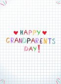 Children colorful hand drawing vector inscription happy grandparents day on notebook squared sheet Greeting card template clip art doodle baby drawings for granmother and grandfather