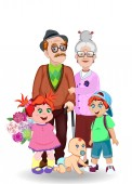 Cartoon vector illustration of grandparents and grandchildren together Grandfather grandmother granddaughter grandson and baby with flowers on white Greeting card happy family clip art