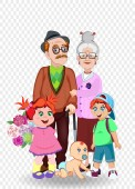 Cartoon vector illustration of grandparents and grandchildren together Grandfather grandmother granddaughter grandson and baby with flowers on transparent Greeting card happy family clip art