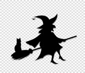 Black silhouette of witch in hat and costume fly on broom with cat isolated on transparent background Halloween party vector illustration icon retro vintage clip art for design Spooky hag flying