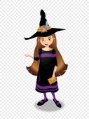 Halloween vector illustration of witch girl with long brown hair in hat and costume isolated on transparent background Cute cartoon enchantress clip art for greeting card invitation festive design