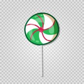 Cute cartoon spiral lollipop sweets isolated on transparent background Swirl peppermint candy icon for web greeting card design isolated on transparent background Vector illustration clip art