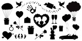 Vector love icons set of 20 editable filled valentines silhouette signs Heart balloons arrow heart rose kissing couple ring just married car balloons open palm glasses doves letter present