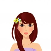 Beautiful brunette girl with hazel eyes and magnificent brown dark chocolate color long hair style and flowers on head Upper body woman cartoon character portrait isolated on white background