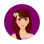 Beautiful brunette girl with hazel eyes and long hair style and flowers on head Upper body woman cartoon character portrait on white background Vector illustration icon label sticker clip art