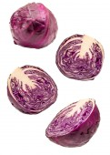 Red cabbage slices flying isolated on white background. Clipping Path.