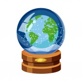Snow globe with Earth world map snow cartoon style vector isolated