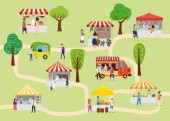 Outdoor street food festival with people walking between vans or caterers canopy buying meals eating and drinking taking selfie talking to each other Template flyer baner invitation card