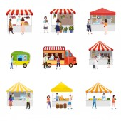 Set outdoor street food festival canopy tent pavilion shopping stall kiosk with people walking between vans or caterers canopy buying meals eating and drinking taking selfie talking to each other