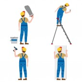Set Workers put plaster on a stepladder with a screwdriver installing gypsum plasterboard panels Vector illustration isolated Construction industry repair new home building interior