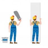 Workers put plaster installing gypsum plasterboard panels Vector illustration isolated Construction industry repair new home building interior