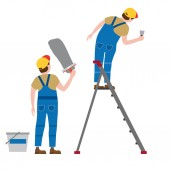 Workers put plaster on a stepladder Vector illustration isolated Construction industry repair new home building interior