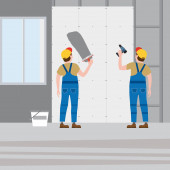 Workers put plaster installing gypsum plasterboard panels in the interior Vector illustration isolated Construction industry repair new home building interior