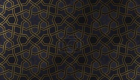 Photo pour Contexte de conception basée sur des motifs graphiques orientaux traditionnels. Motif décoratif islamique avec texture artistique doré. Mosaïque ethnique arabe avec entrelacement des lignes et des ornements en mosaïque géométriques. - image libre de droit