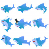 shark cartoon icons set vector illustration