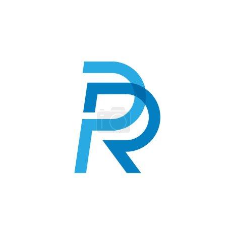 Illustration pour Lettre initiale créative PR ou RP modèle de logo design bleu coloré pour l'entreprise et l'identité de l'entreprise - image libre de droit