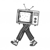 TV walks on its feet engraving vector illustration Scratch board style imitation Black and white hand drawn image