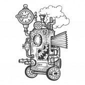 Fantastic steam punk machine engraving vector illustration Scratch board style imitation Black and white hand drawn image