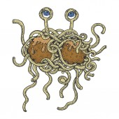 Flying spaghetti monster color sketch engraving vector illustration Scratch board style imitation Hand drawn image