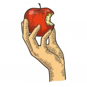 Bitten apple in hand color sketch engraving vector illustration Scratch board style imitation Black and white hand drawn image