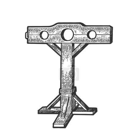 Illustration pour Stocks médiéval dispositif de torture croquis gravure vectorielle illustration. Imitation de style scratch board. Image dessinée à la main . - image libre de droit