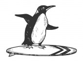 Penguin bird rides on surfboard sketch engraving vector illustration Tee shirt apparel print design Scratch board style imitation Black and white hand drawn image